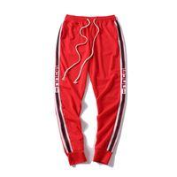 koşu kıyafetleri erkekler toptan satış-2019 Yeni Erkek Pantolon Tasarımcısı Jogging yapan Parça Pantolon Moda Marka Jogging Yapan Giyim Yan Şerit İpli Pantolon Erkekler Marka Spor Ter Pantolon
