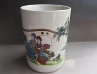 antigas, pintura, escovas venda por atacado-Porcelana chinesa velha Pote de porcelana esmalte pintado