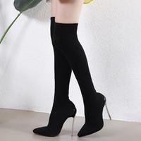 botas de muslo talla 35 al por mayor-Más el tamaño 35 a 40 41 42 ajuste elástico delgado atractivo sobre el muslo de la rodilla botas altas zapatos de diseño están equipadas con caja