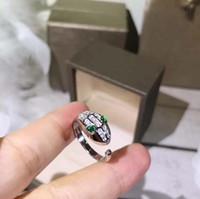 cor da china pedra preciosa venda por atacado-Designer SERPENTI jóias anel de prata esterlina 925 rosa de ouro em forma de diamante gemstone abertura anel de cobra mulher anel de noivado de luxo 3 cores