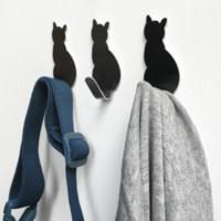 ingrosso asciugamani da bagno-2pcs ganci autoadesivi portaoggetti modello gatto per bagno appendiabiti da cucina bastone su portasciugamani portachiavi asciugamano