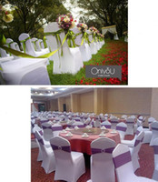 Wholesale universal chair covers sashes for sale - Group buy Universal White Chair Covers Sashes spandex lycra bow tie chair covers Sashes for Wedding decorations Party sale Banquet design