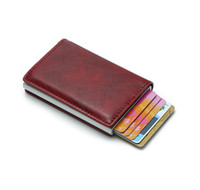 Wholesale retractable card clip for sale - Group buy Card Wallet Anti RFID ID Credit Card Holder Retractable Leather Slim Wallet for Man Auto Pop Up Money Clip Porta Tarjetas