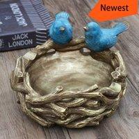 vogel nest dekorationen zu hause großhandel-Europäische Persönlichkeit Einrichtungsgegenstände Amerikanischen Vintage Village Bird Nest Speicherplatte Desktop Storage Rack Ornamente Skulpturen