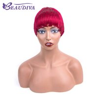 Wholesale wine red short hair for sale - Group buy Beaudiva Human Hair Short Wigs for Black Women Burgundy Red Wine Short Straight Wig Short Remy Hair Wig