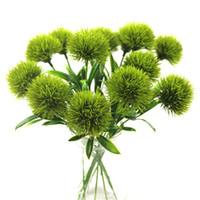 flores artificiales de un solo tallo al por mayor-Las flores artificiales diente de león solo tallo Flor del diente de plástico Decoración de las bodas longitud unos 25 cm Tabla Centros MMA1826-6