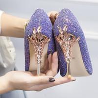 kadın papağanı için topuklar toptan satış-Mor Sequins Yüksek Topuk Gelin Düğün Ayakkabı 2019 Mütevazı Londra Moda Haftası Eden Topuk Sivri Burun Çocuk cilt Kadın Parti Akşam Balo Ayakkabı