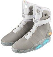 led personalizado venda por atacado-Laços automáticosAir Mag LED Sapatos Laços de Poder Mens Sneakers Marty McFly Esportes De Volta Para O Futuro dos homens Sapatos Com Caixa Original Personalizado