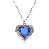 collar alas cadenas al por mayor-Alas de ángel Collares de piedras preciosas Para las mujeres de cristal Amor en forma de Corazón Colgante de cadenas de plata collar Moda Joyería Femenina