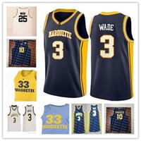 águila bordada al por mayor-Personalizado bordado Marquette Eagles de oro Escuela de Baloncesto 0 Markus Howard 10 Sam Hauser 22 Joey NCAA cosido jerseys de alta calidad