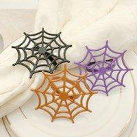 servilletas de impresión al por mayor-anillo de servilleta de Halloween papel de seda de araña hueco 7 cm colorido hebilla de impresión de acero inoxidable anillo mesa de la cocina servilleta