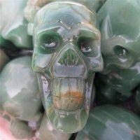 ingrosso pietra verde per la decorazione-Commercio all'ingrosso su misura di grandi dimensioni intagliato verde avventurina quarzo cristallo gemma di pietra cranio reiki per la casa guarigione decorazione