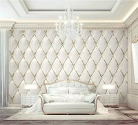 Wholesale murals resale online - Custom wallpaper d mural luxury gold crystal rhombic stitching d European soft bag background wall papers home decor