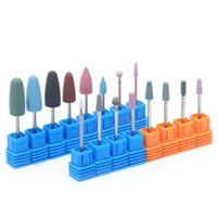 ingrosso taglierina rotativa-1 pz Nail Drill Bit Grinding Stone Silicone Color Rotary Burr 3/32