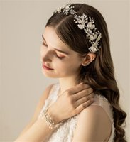 blüten süßwasserperlen großhandel-Weinlese-Hochzeits-Blumenblumen-Stirnband-Band-Frischwasserperlen-Haarband-Zusatz-Schmucksache-Silber-Kopfschmuck-Blatt-Kopfschmuck-Abschlussball-Verzierung