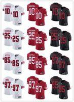 vajilla amarilla al por mayor-Personalizada San Francisco Juventud femenina 49ers 85 George Kittle 10 Jimmy Garoppolo 25 Richard Sherman 97 Nick Bosa rojo Camisetas de fútbol
