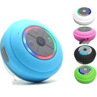 cep telefonu bluetooth tf toptan satış-Kablosuz Bluetooth Hoparlör Su Geçirmez Led FM Radyo Subwoofer Bluetooth Sütun TF Kart Vantuz Mini Duş Hoparlör cep telefonu tablet için