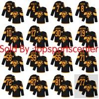 camisetas de peso pesado al por mayor-Hombres tamaño grande de Pittsburgh 5XXXXXL Pingüinos # 87 Crosby 71 Malkin 81 Kessel # 58 Letang 3 Maatta 59 Guentzel 30 Murray 68 Jagr Camisetas cosidas