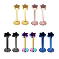 Wholesale Star Labret Lip Chin Ring Nose Ear Bar Stud Stainless Steel Piercing Fashion Body Jewelry