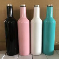 copas de vino de la cadera al por mayor-750 ML Botellas de Vino Rojo 304 Acero Inoxidable Hip Matraz Doble Paredes Aisladas Cerveza Vino Copas Botella de Agua Potable