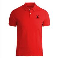 polo negro para hombre al por mayor-Camisa polo para hombre Marca Plus Size S-3XL Camisa polo de algodón Hombres Slim Fit Ropa de marca Polo negro sólido
