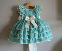 vestido de lã de algodão de algodão de verão venda por atacado-3 pcs Boutique Verão Outono Bebê Menina Azul Laranja de Algodão Do Vintage Espanhol Princesa Vestido de Renda Vestido Lolita Vestido de Festa de Aniversário MX190724