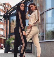 mode-sweatshirt damen großhandel-Casual Trainingsanzug Frauen Zweiteiler Herbst Outfits Gedruckt Sweatshirt Jacke und Hose Set Damenmode Trainingsanzüge