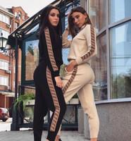 moda sweatshirt bayanları toptan satış-Rahat Eşofman Kadın Iki Parçalı Set Sonbahar Kıyafetler Baskılı Kazak Ceket ve Pantolon Set Bayanlar Moda Ter Takım Elbise