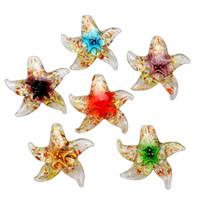 cristal de murano estrella de mar al por mayor-3D Animal Starfish Colorido Hecho A Mano de Murano Cristal de Murano Colgantes Flor en Collares Comercio al por mayor al por menor GRATIS # pdt250