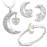 mücevher aya geri toptan satış-Ay ve arka Takı Seti Bayanlar Nişan Düğün Hediye S925 gümüş kolye Yüzük Küpe Kolye Yeni Narin Aşkın