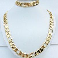 collar de cadena de oro amarillo al por mayor-Conjunto de collar y brazalete de oro amarillo de 24 quilates para hombres, con juego de pulsera Figaro Curb Chain 20 '' / 22 '' / 24''26 ''
