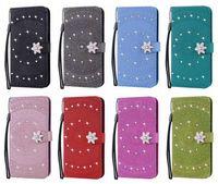 Wholesale sunflower phone case online – custom Bling Diamond Datura Flower Leather Wallet Case For Iphone XR XS Max X Flip Cover Sunflower Phone Holder Flip Cover Magnetic Pouch