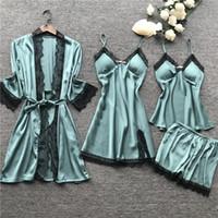 damen pyjama shorts set groihandel-Pyjama-Sets 4-teilig Damen Oberteile + kurze Hosen Nacht Damen Nachthemden Nachtwäsche Homewear