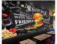 Wholesale chinese hand paintings resale online - 3D custom photo silk background mural wallpaper European and American hand painted burger fast food restaurant snack bar background mural