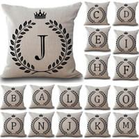almofadas do sofá da letra venda por atacado-1 Pcs Carta Coroa 43 * 43 cm de Algodão de Linho Throw Pillow Capa de Almofada Car Home Decoração Sofá Decor Decorativa fronha
