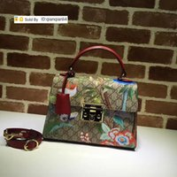 Wholesale butterfly print handbags resale online - qianqianli4 AYYH Top Quality Letter embossing Metal Buckle Butterfly Birds Printing Shoulder Bag Real Leather Woman Handbag