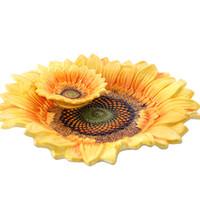 Wholesale fruit toothpick for sale - Group buy Ceramic Sunflower Fruit Plate With Toothpick Box Dessert Snack Salad Plate Home Decor Wedding Decoration Handicraft Figurine