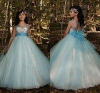 vestido largo de tul azul para niños al por mayor-Princesa Beads Sheer Tulle largo Azul Flor Flor 'Vestidos Ojo de la cerradura Niños Tutu Girls Vestidos del desfile Cumpleaños Primera comunión Desgaste