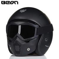 ingrosso caschi moto aperti-Maschera casco vintage moto in fibra di vetro Beon FRP open face 3/4 casco moto motocross jet retro omologazione ECE