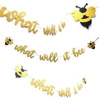 bannières anniversaire livraison gratuite achat en gros de-Bachelorette Honeybee Fête D'anniversaire Drapeau Tirant Feutre Nontissés De Noël Saint Valentin Décoration Bannière Drapeau Livraison Gratuite 9 1hn A1