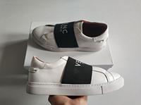 dantel ayakkabıları toptan satış-Moda lüks Paris kayış deri tasarımcısı sneakers kadın erkek gerçek deri elastik bant lace up casual İtalya parti a ...