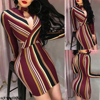 Wholesale opening breast dress for sale - Group buy Newest Hot Women Sexy Slim Fit Breast Open Halter Long Sleeve Bodycon Dress Stripe Pencil Cocktail Party Dress Clubwear
