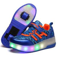 işıklı çocuklar için spor ayakkabıları açtı toptan satış-Ayakkabı Koşu Erkekler Kız Çift Tekerlekler Led Parlayan Işık Up olan kadınlar Çocuk LED Işıklar Ayakkabı Çocuk Roller Skate Sneakers