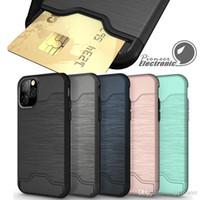 nuevo teléfono con tarjeta al por mayor-Caso ranura para tarjeta para Iphone 2019 NUEVO 11 X Pro XR XS 8 MAX PLUS Samsung S9 S10 además de caja de la armadura de cáscara dura la contraportada con la caja del teléfono pie de apoyo