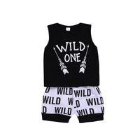 ingrosso boutique-Neonati Abbigliamento bambino Toddler Vesr + Pantaloncini 2 PZ set Wild One Outfit Infant Boutique Abbigliamento casual Bambini Costume Estate Abbigliamento per bambini