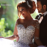 Wholesale classic wedding ball gowns for sale - Group buy 2019 Classic Ball Gown Jewel Wedding Dresses With Long Sleeves Crystals and Appliques Saudi Arabic Wedding Gowns Bridal Dresses