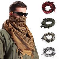 bufanda militar arabe al por mayor-Hombres militar bufanda a prueba de viento musulmán Hijab Shemagh táctico mantón árabe Keffiyeh algodón moda mujeres bufandas