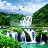 papéis de parede 3d bonitos venda por atacado-HD personalizado qualquer tamanho papel de parede foto 3d cachoeira bela paisagem natural decoração de casa papel de parede para paredes 3 d