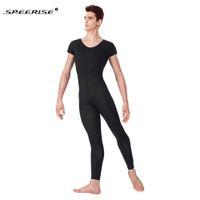 Wholesale one piece jumpsuits adults for sale - Group buy SPEERIS Adult Black Mens Unitard One Piece Lycra Ballet Short Sleeve Full Body Tight Jumpsuit Unitards Dance Costumes Bodysuit