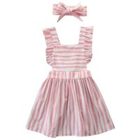 Wholesale baby toddler clothing suspenders resale online - Suspender Stripe kid dress Toddler Baby Girls Fashion Princess Party Dress Outfits Clothes Daily Kids Dresses For Girls